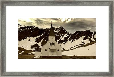 Spring Snow Melt In Grytviken Framed Print by Amanda Stadther
