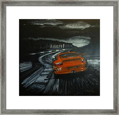 Framed Print featuring the painting Gt3 @ Le Mans #2 by Richard Le Page