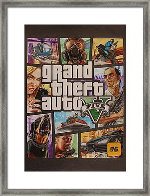 Gta V Box Art Cover Colored Drawing Framed Print