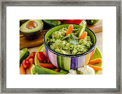 Guacamole And Veggies Framed Print by Teri Virbickis