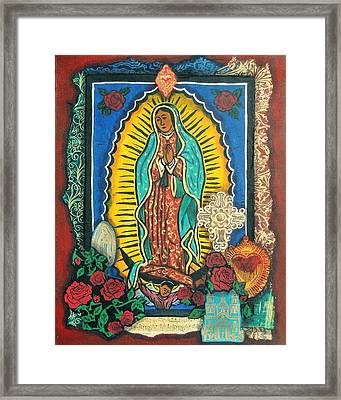 Guadalupe Collage In Red Framed Print