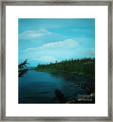 Framed Print featuring the painting Guam Island Cove by Brigitte Emme