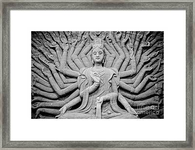 Guanyin Bodhisattva In Black And White Framed Print by Dean Harte