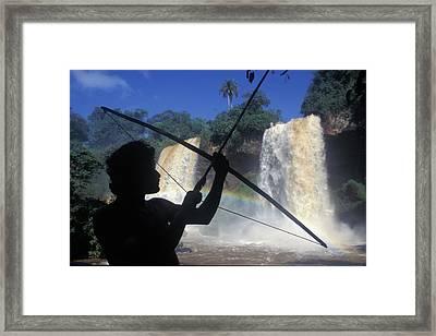 Guarani Indian In Iguazu Waterfalls Framed Print