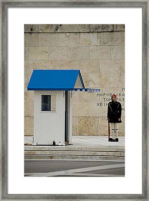 Guard At Tomb Of Unknown Soldier In Athens Framed Print by Cliff C Morris Jr