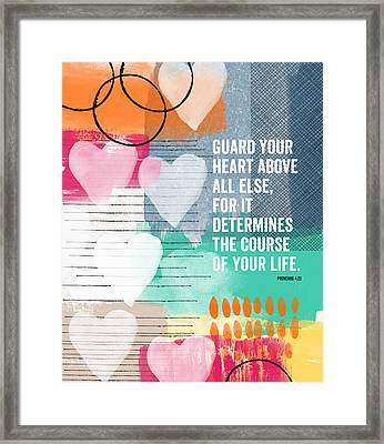 Guard Your Heart- Contemporary Scripture Art Framed Print by Linda Woods
