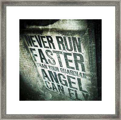 Guardian Angel - Quotation Text Photography Framed Print by Marianna Mills