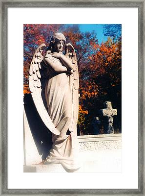 Guardian Angel Statue With Cemetery Cross Framed Print by Kathy Fornal
