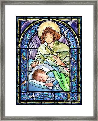 Guardian Angel With Sleeping Boy Framed Print