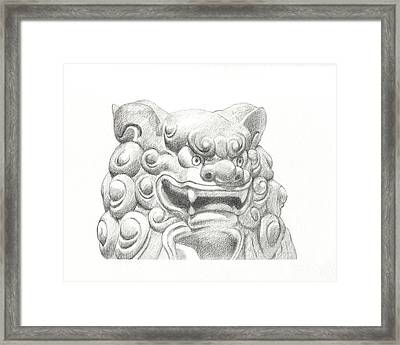 Guardian Lion Framed Print by Kazumi Whitemoon