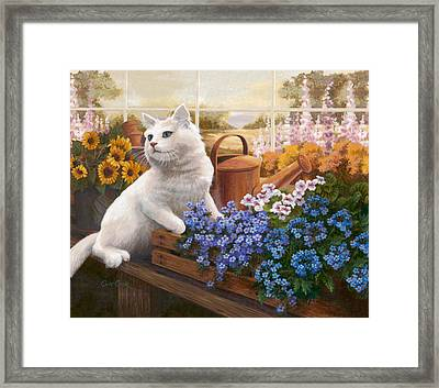 Guardian Of The Greenhouse Framed Print by Evie Cook