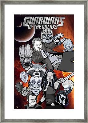 Guardians Of The Galaxy Collage Framed Print by Gary Niles