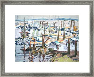 Framed Print featuring the pastel Guardians Of The Harbor by Grace Keown