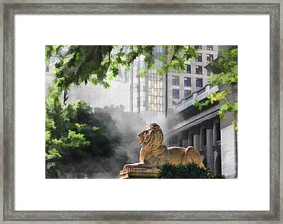 Guarding The Grand Library Framed Print by Aleksander Rotner
