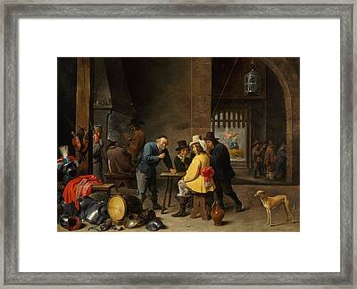 Guardroom With The Deliverance Of Saint Peter Framed Print by David Teniers the Younger