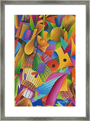 Guatemala, Lake Atitlan, Panajachel, Colorful Painting For Sale Framed Print by Richard Maschmeyer