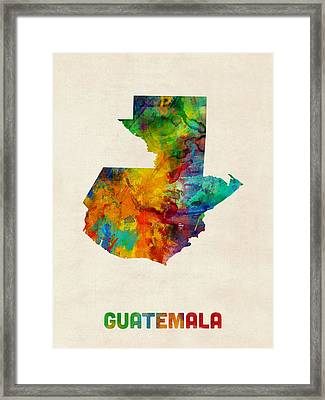 Guatemala Watercolor Map Framed Print by Michael Tompsett