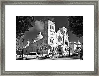 Guayama Church And Plaza B W 1 Framed Print by Ricardo J Ruiz de Porras
