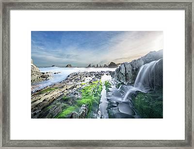 Gueirua Beach, Cudillero, Asturias Framed Print by Dietermeyrl