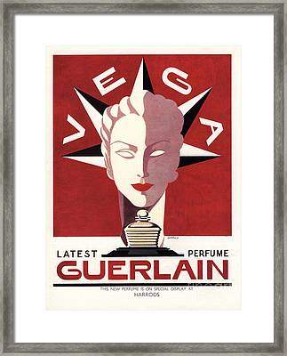 Guerlain 1940s Uk Guerlain   Vega Art Framed Print by The Advertising Archives