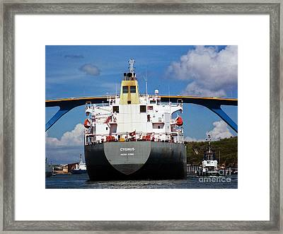 Guided Under Queen Julianna Bridge In Curacao Framed Print