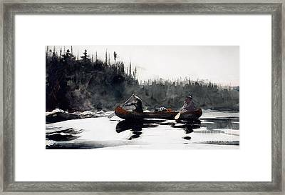 Guides Shooting Rapids Framed Print by Winslow Homer