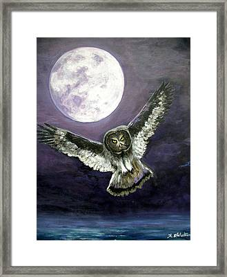 Great Grey Owl Of The Guiding Light Framed Print by Amy Scholten