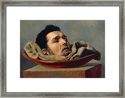 Guillotined Head Framed Print by Francois Gabriel de Becdelievre
