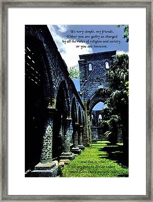 Guilty Or Innocent Framed Print by Mike Flynn