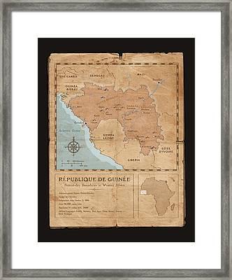 Guinee Map Framed Print by Dave Kobrenski