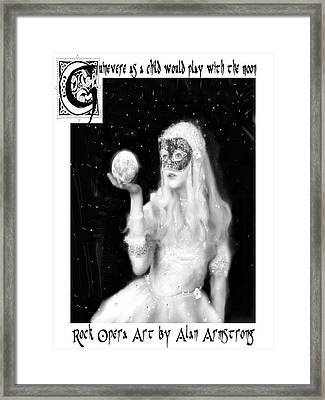 Guinevere As A Child Would Play With The Moon Framed Print by Alan Armstrong
