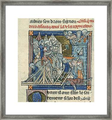 Guinevere Beseiged In Tower Framed Print by British Library