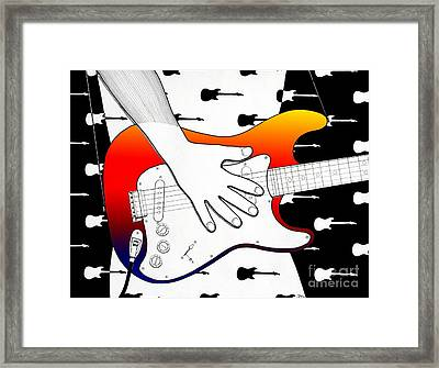 Framed Print featuring the drawing Guitar 1 by Joseph J Stevens