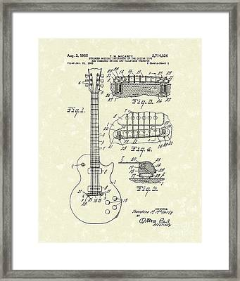 Guitar 1955 Patent Art Framed Print