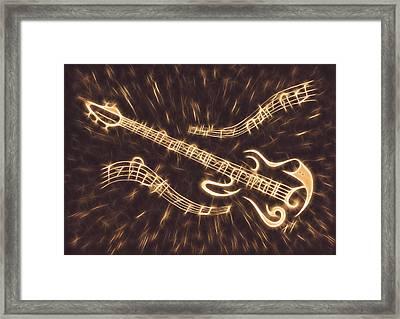 Guitar Abstract Digital Painting Framed Print by Georgeta Blanaru