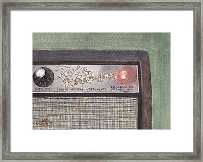 Guitar Amp Sketch Framed Print by Ken Powers