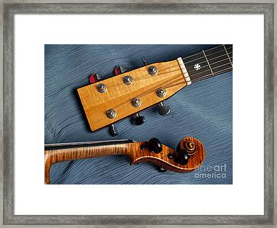 Guitar And Violin Heads On Blue Framed Print by Anna Lisa Yoder