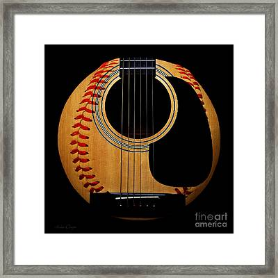 Guitar Baseball Square Framed Print by Andee Design