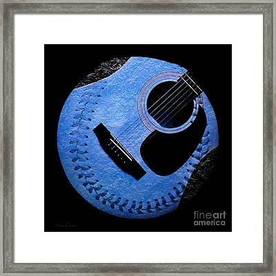 Guitar Blueberry Baseball Square Framed Print by Andee Design