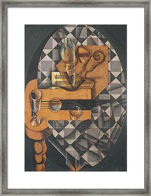 Guitar, Bottle, And Glass, 1914 Pasted Papers, Gouache & Crayon On Canvas Framed Print