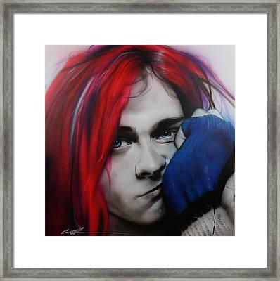 Kurt Cobain - ' Guitar Demolition ' Framed Print by Christian Chapman Art