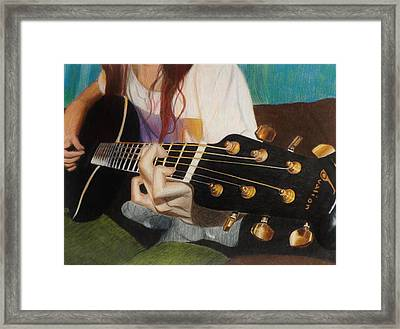 Guitar Drawing Framed Print by Savanna Paine