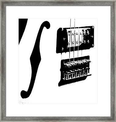 Guitar Graphic In Black And White  Framed Print