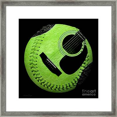 Guitar Keylime Baseball Square  Framed Print by Andee Design
