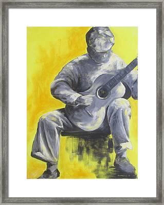 Guitar Man In Shades Of Grey Framed Print by Susan Richardson