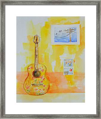 Guitar Of A Flower Girl In Love Framed Print