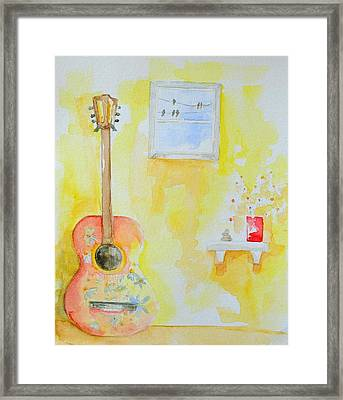 Guitar Of A Flower Girl With A Touch Of Zen Framed Print