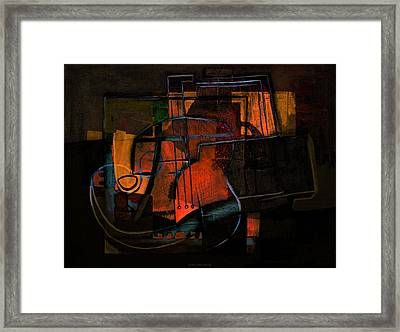 Guitar On Table #3 Framed Print