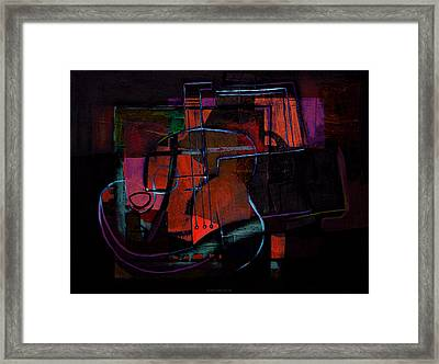 Guitar On Table Framed Print