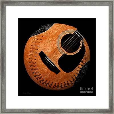 Guitar Orange Baseball Square Framed Print by Andee Design